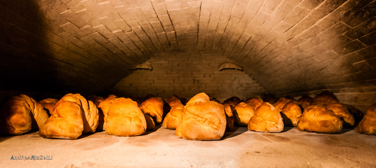 Forms of bread in an oven