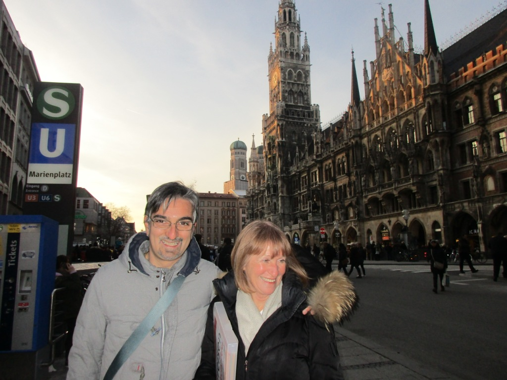 Astrid and I at Marienplatz